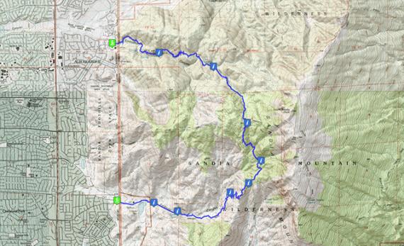 Embudo ~ 3 Gun Spring ~ Oso Pass ~ Embudito / Trail Route and Topo Map